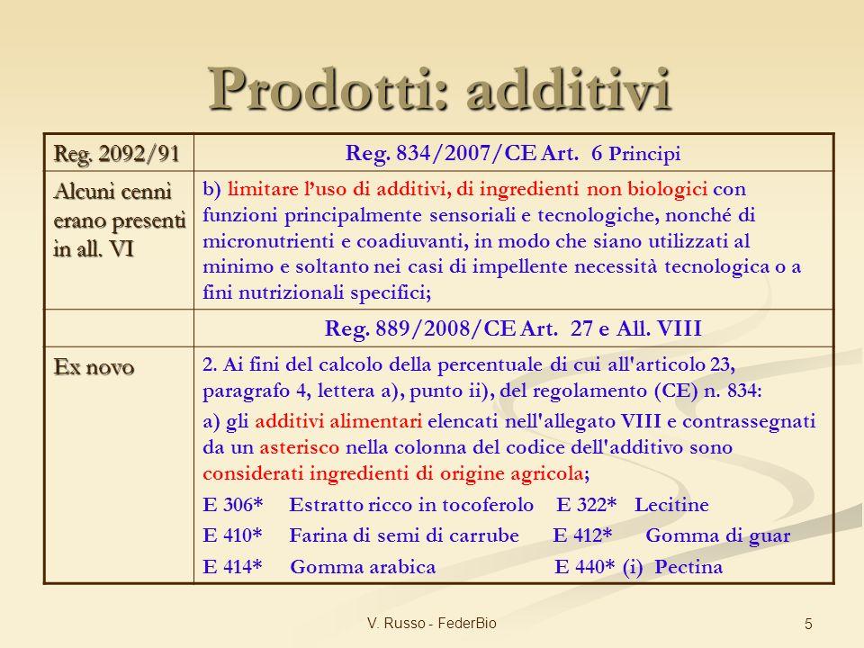 Prodotti: additivi Reg. 2092/91 Reg. 834/2007/CE Art. 6 Principi