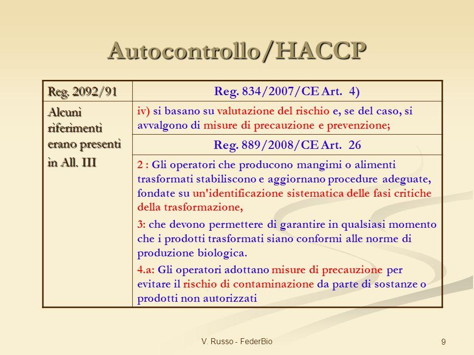 Autocontrollo/HACCP Reg. 834/2007/CE Art. 4) Reg. 2092/91