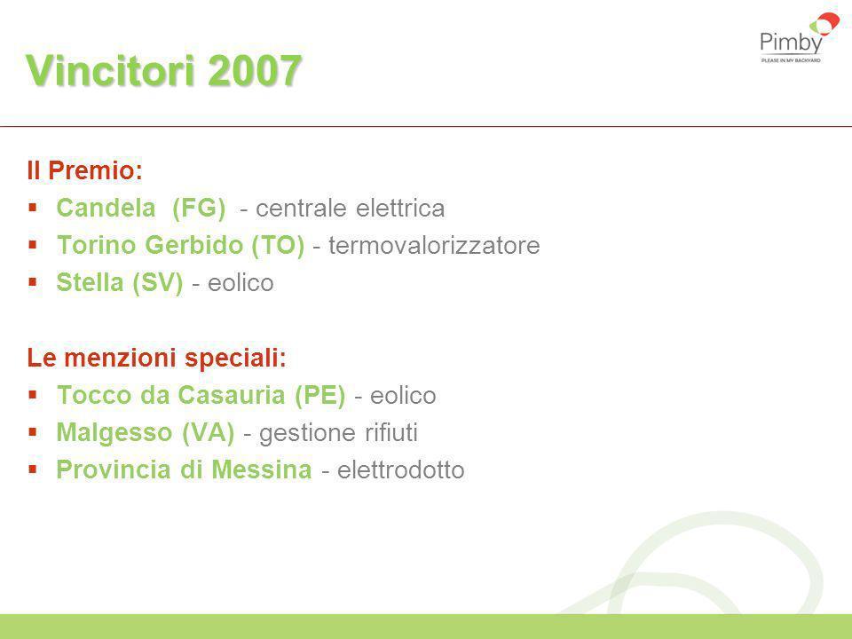 Vincitori 2007 Il Premio: Candela (FG) - centrale elettrica