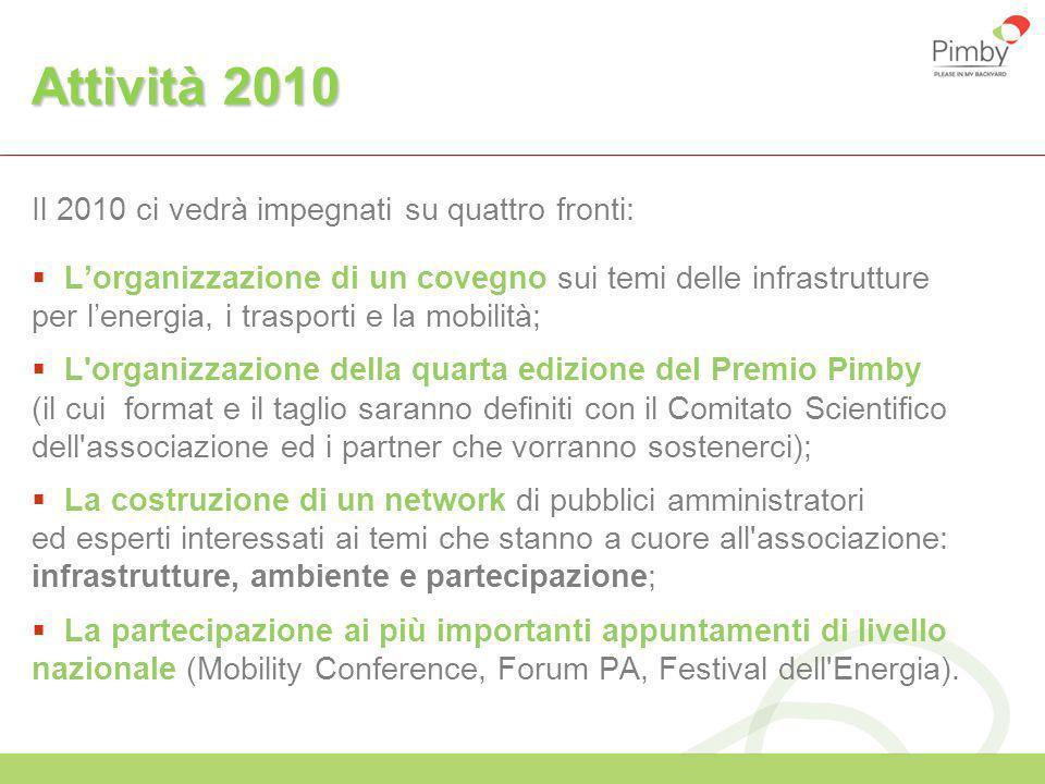 Attività 2010 Il 2010 ci vedrà impegnati su quattro fronti: