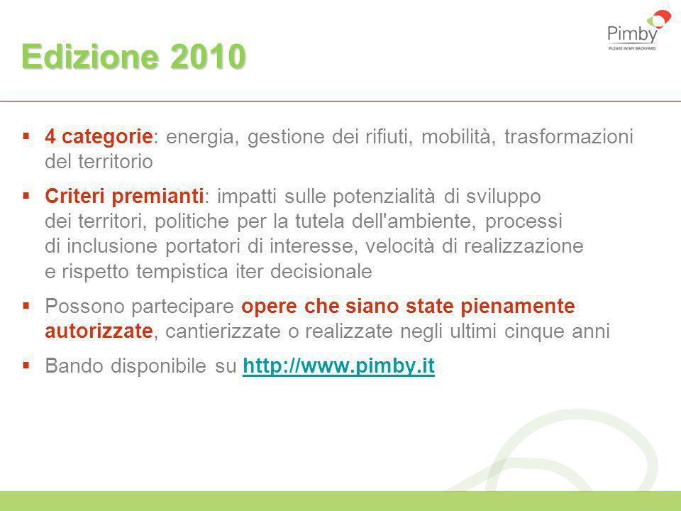 Edizione 2010 4 categorie: energia, gestione dei rifiuti, mobilità, trasformazioni del territorio.