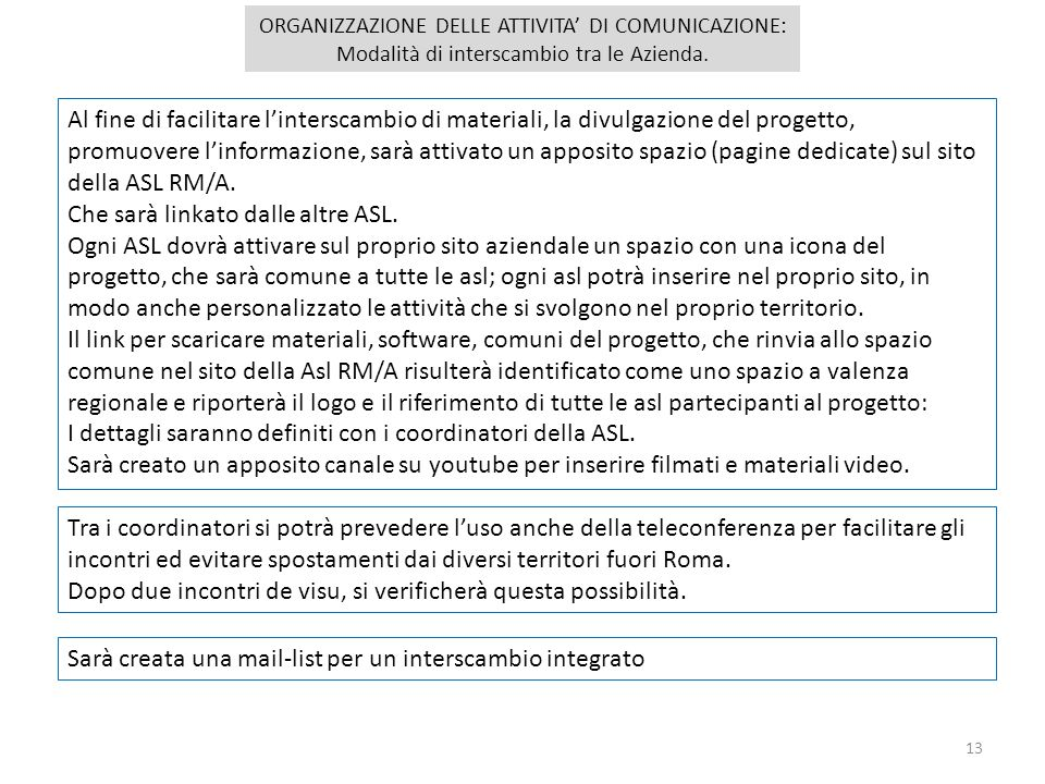 Sarà creata una mail-list per un interscambio integrato