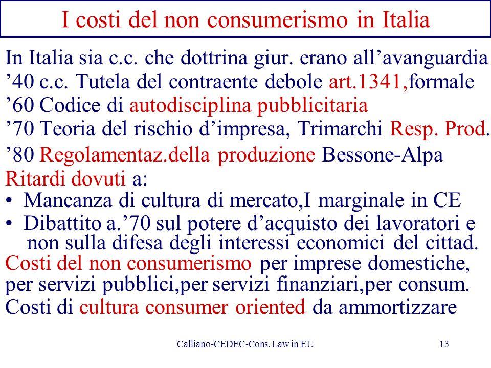 I costi del non consumerismo in Italia