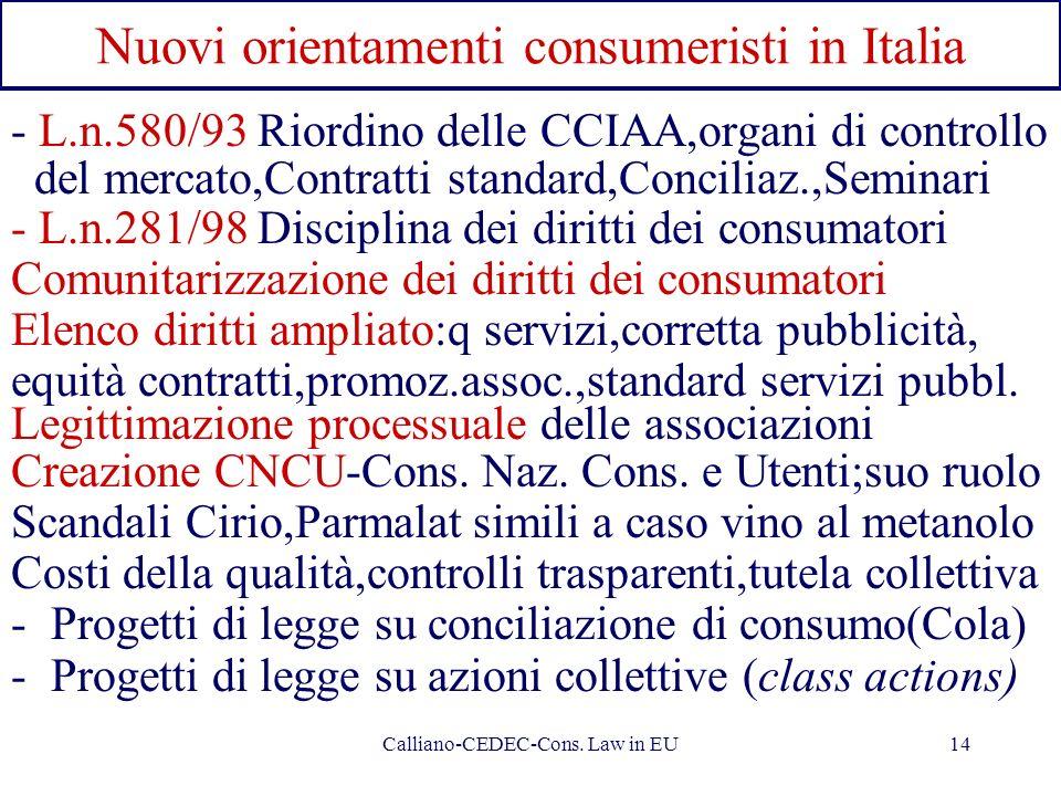 Nuovi orientamenti consumeristi in Italia