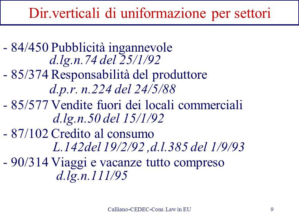 Dir.verticali di uniformazione per settori