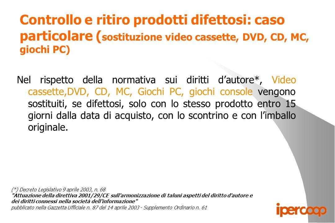 Controllo e ritiro prodotti difettosi: caso particolare (sostituzione video cassette, DVD, CD, MC, giochi PC)