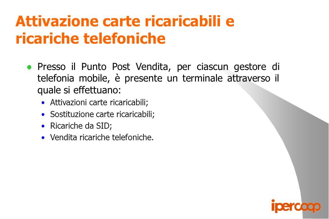 Attivazione carte ricaricabili e ricariche telefoniche