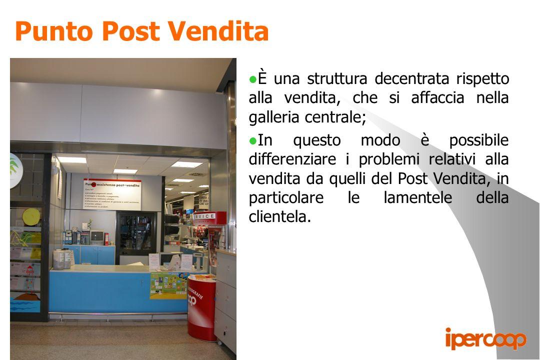 Punto Post Vendita È una struttura decentrata rispetto alla vendita, che si affaccia nella galleria centrale;