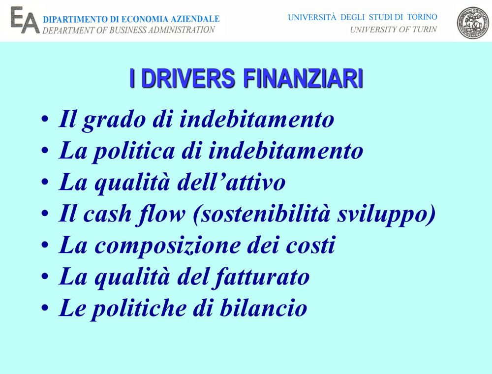 I DRIVERS FINANZIARI Il grado di indebitamento. La politica di indebitamento. La qualità dell'attivo.