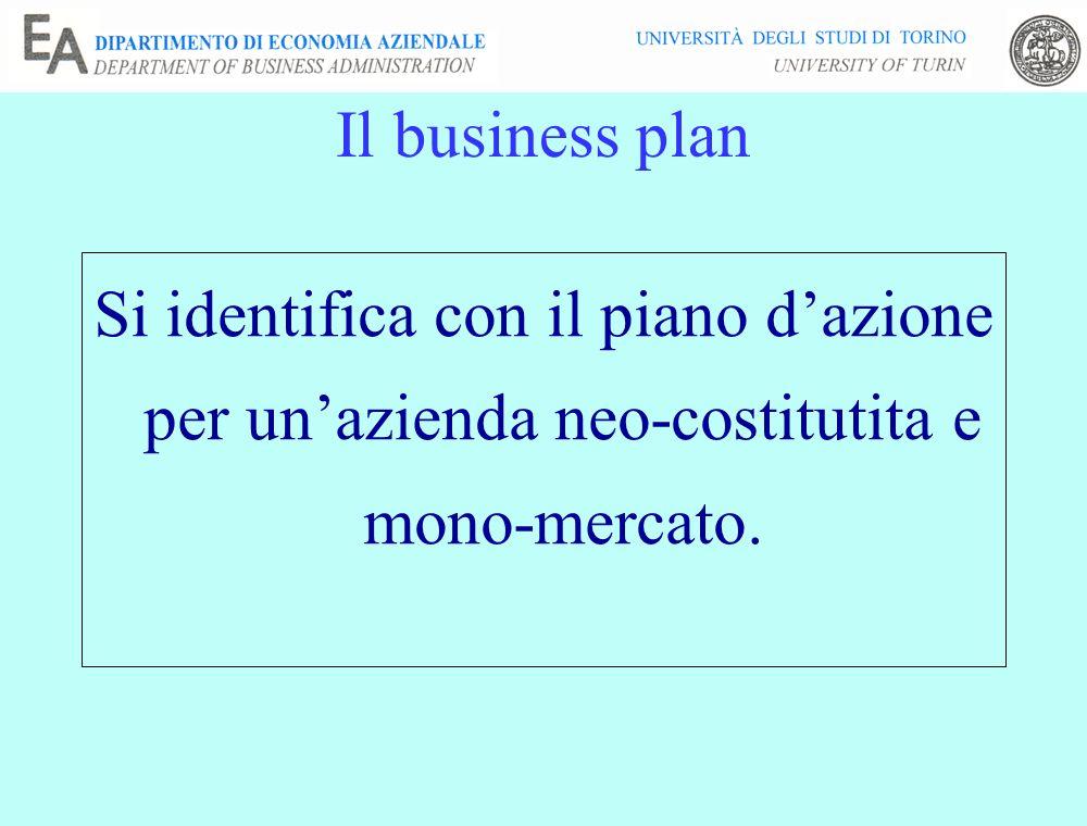 Il business plan Si identifica con il piano d'azione per un'azienda neo-costitutita e mono-mercato.