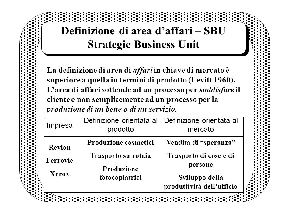 Definizione di area d'affari – SBU Strategic Business Unit