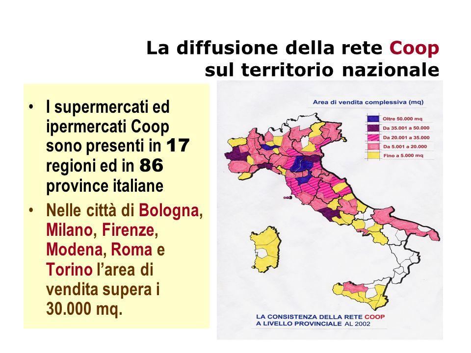 La diffusione della rete Coop sul territorio nazionale