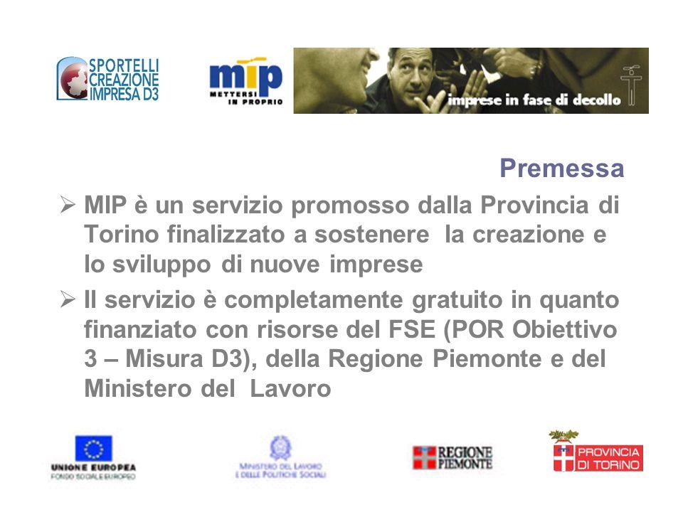 Premessa MIP è un servizio promosso dalla Provincia di Torino finalizzato a sostenere la creazione e lo sviluppo di nuove imprese.