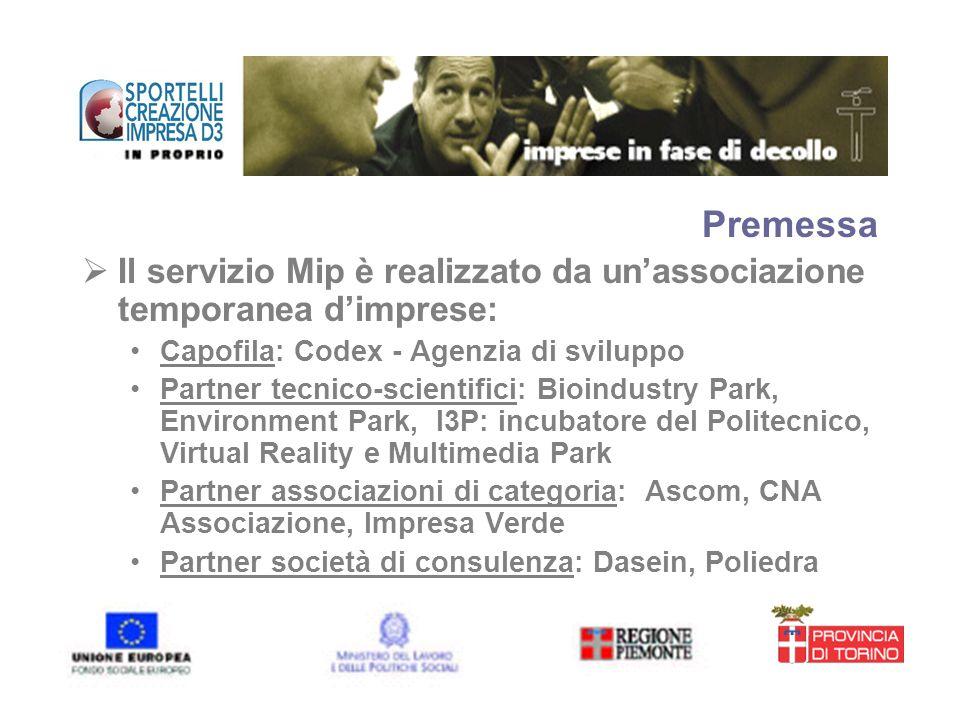 Premessa Il servizio Mip è realizzato da un'associazione temporanea d'imprese: Capofila: Codex - Agenzia di sviluppo.