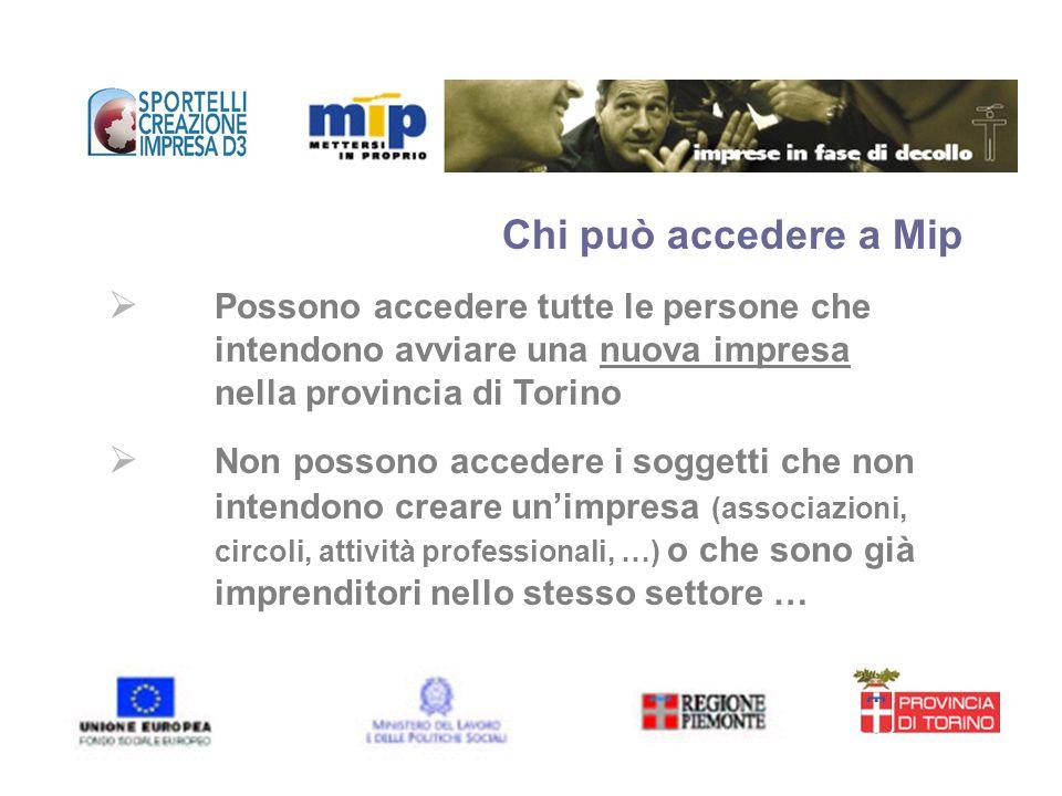 Chi può accedere a Mip Possono accedere tutte le persone che intendono avviare una nuova impresa nella provincia di Torino.