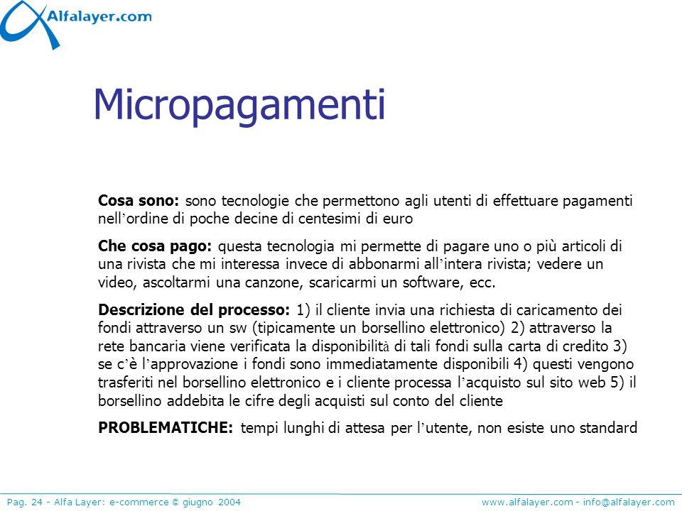 Micropagamenti Cosa sono: sono tecnologie che permettono agli utenti di effettuare pagamenti nell'ordine di poche decine di centesimi di euro.
