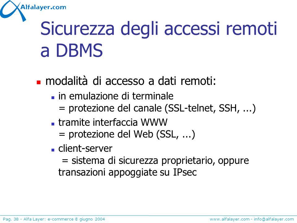Sicurezza degli accessi remoti a DBMS