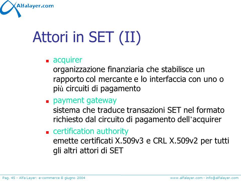 Attori in SET (II) acquirer organizzazione finanziaria che stabilisce un rapporto col mercante e lo interfaccia con uno o più circuiti di pagamento.