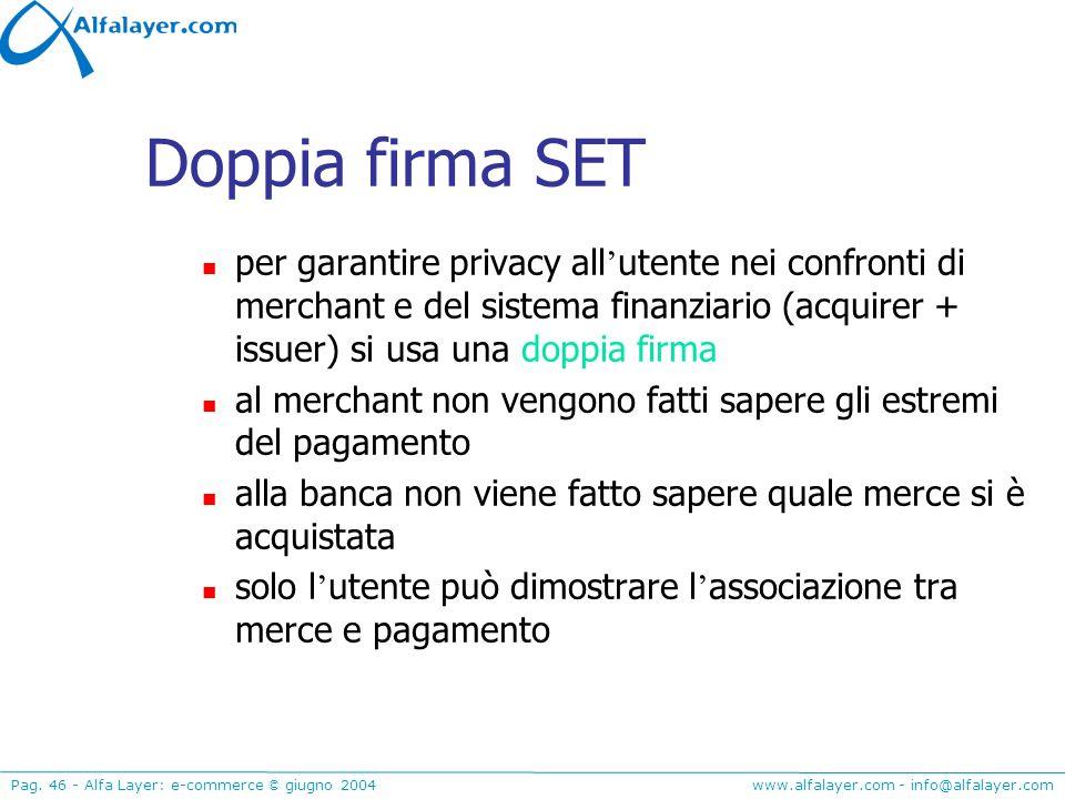 Doppia firma SET per garantire privacy all'utente nei confronti di merchant e del sistema finanziario (acquirer + issuer) si usa una doppia firma.
