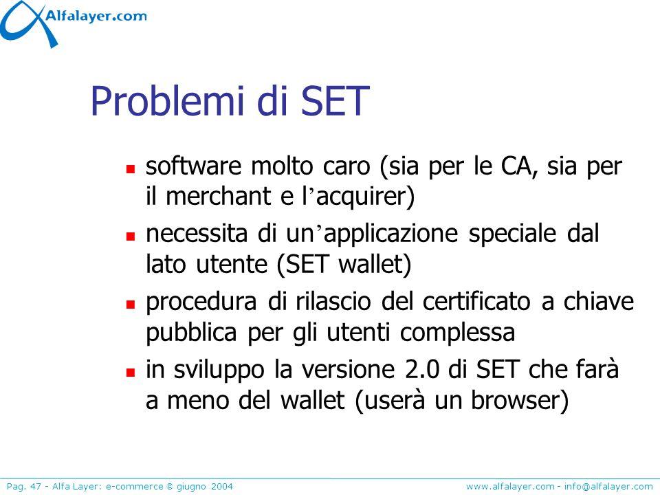 Problemi di SET software molto caro (sia per le CA, sia per il merchant e l'acquirer)