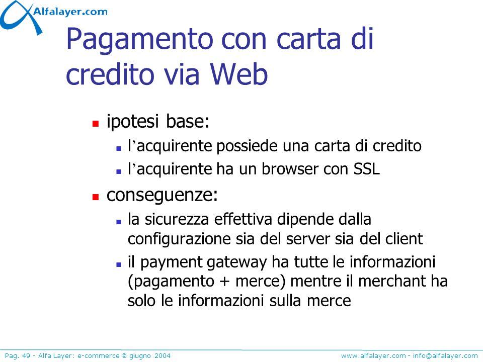 Pagamento con carta di credito via Web
