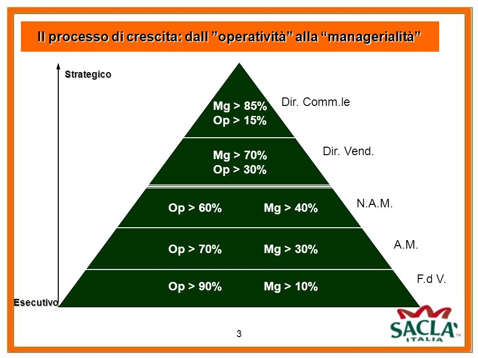 Il processo di crescita: dall operatività alla managerialità