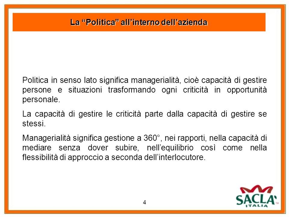 La Politica all'interno dell'azienda