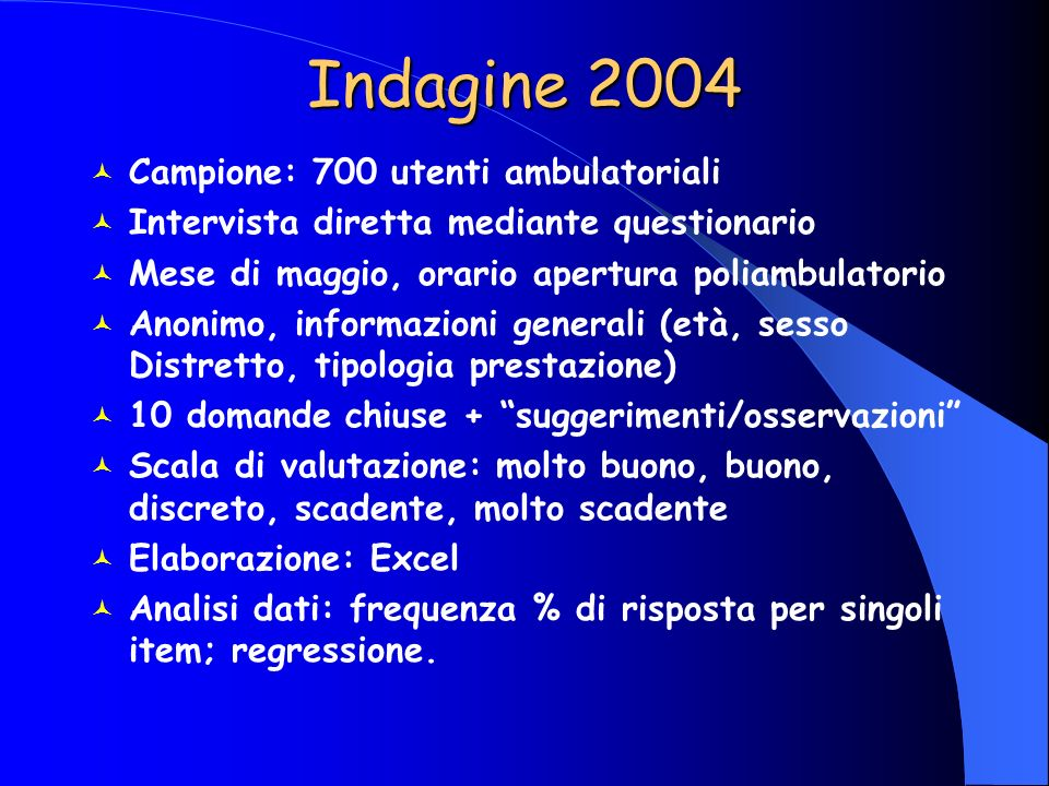 Indagine 2004 Campione: 700 utenti ambulatoriali
