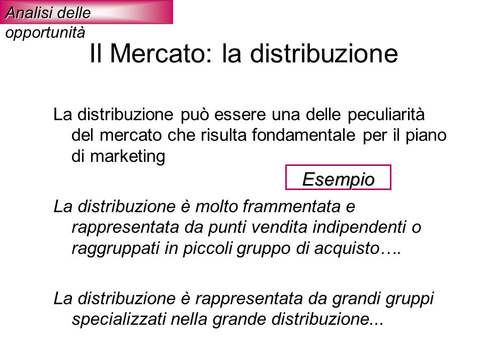 Il Mercato: la distribuzione