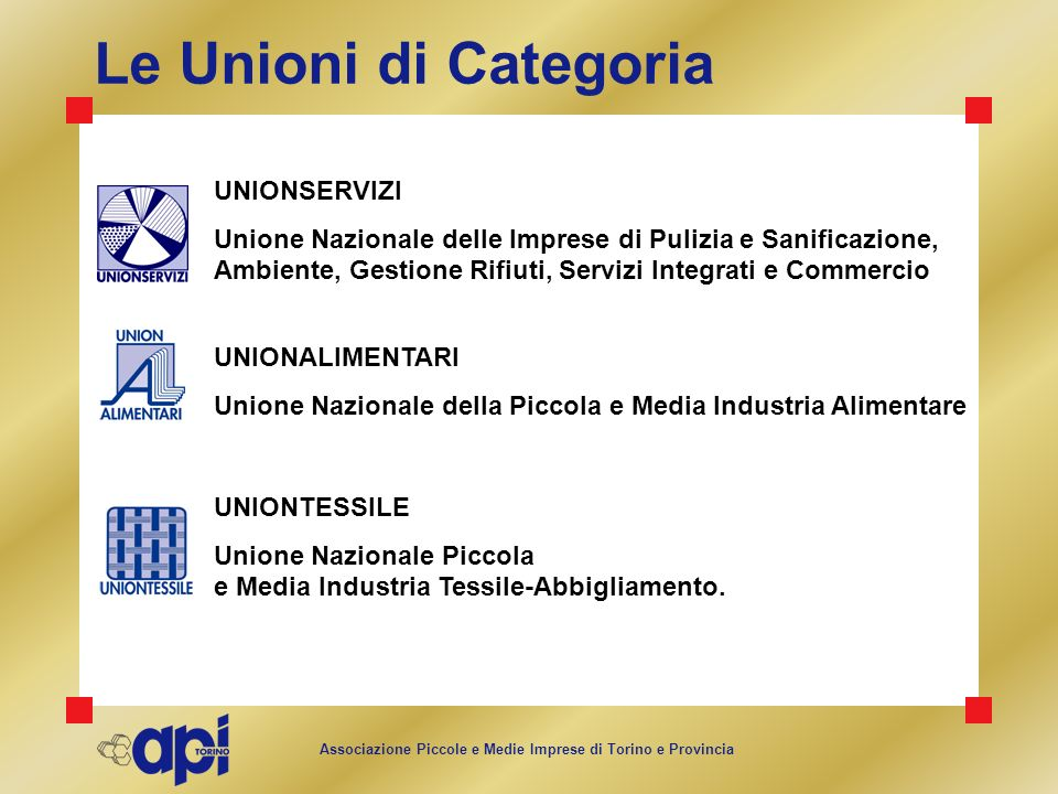 Le Unioni di Categoria UNIONSERVIZI