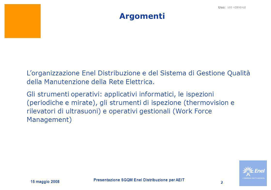 Argomenti L'organizzazione Enel Distribuzione e del Sistema di Gestione Qualità della Manutenzione della Rete Elettrica.