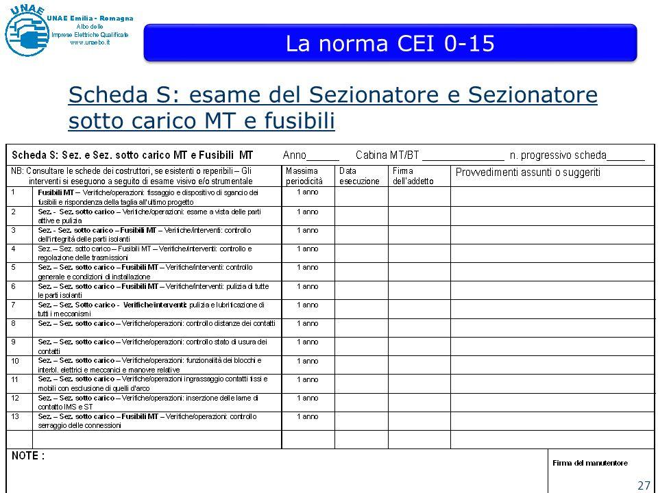La norma CEI 0-15 Scheda S: esame del Sezionatore e Sezionatore sotto carico MT e fusibili 27 27