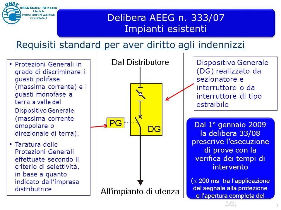 Delibera AEEG n. 333/07 Impianti esistenti