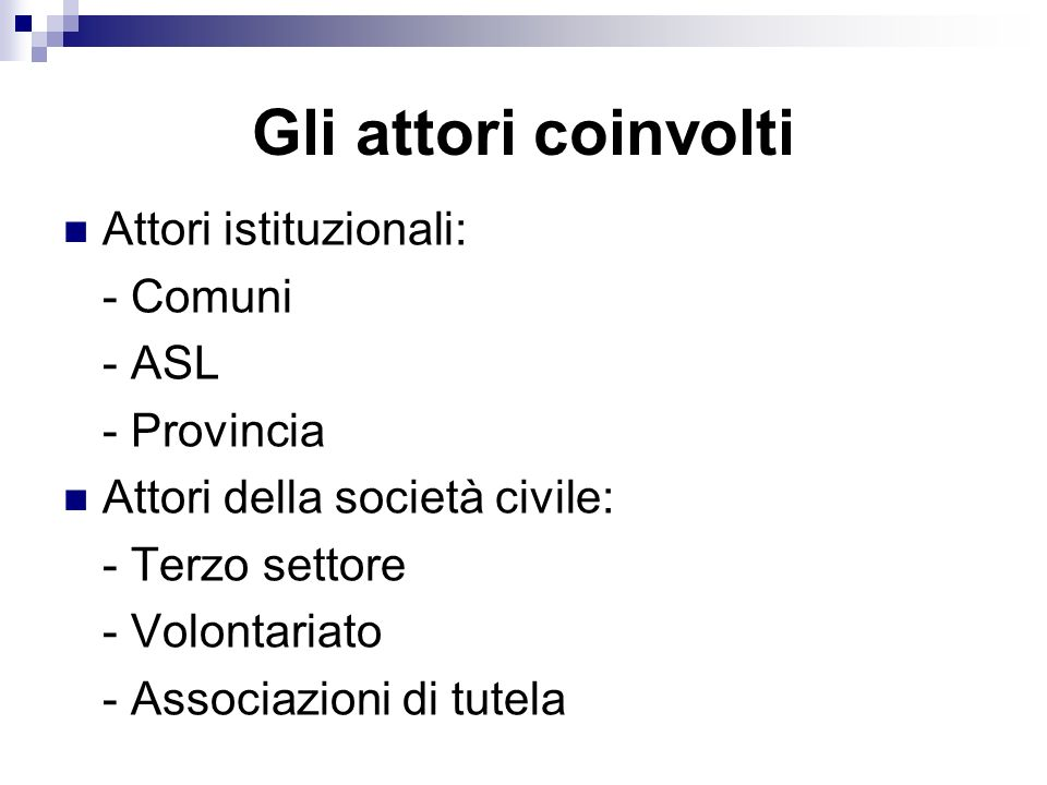Gli attori coinvolti Attori istituzionali: - Comuni - ASL - Provincia