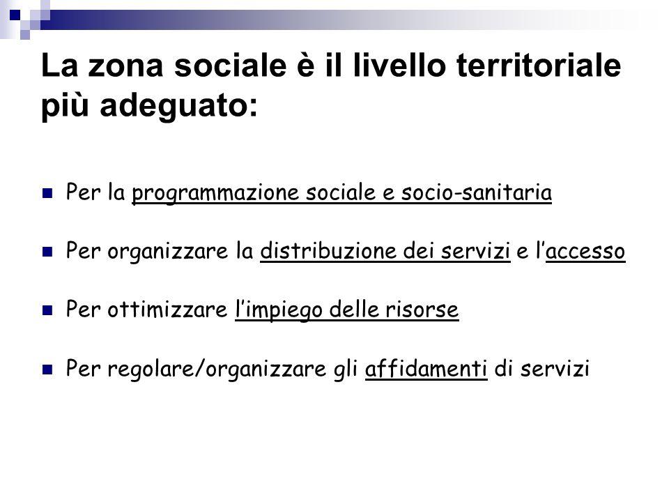 La zona sociale è il livello territoriale più adeguato: