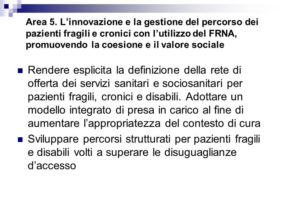 Area 5. L'innovazione e la gestione del percorso dei pazienti fragili e cronici con l'utilizzo del FRNA, promuovendo la coesione e il valore sociale