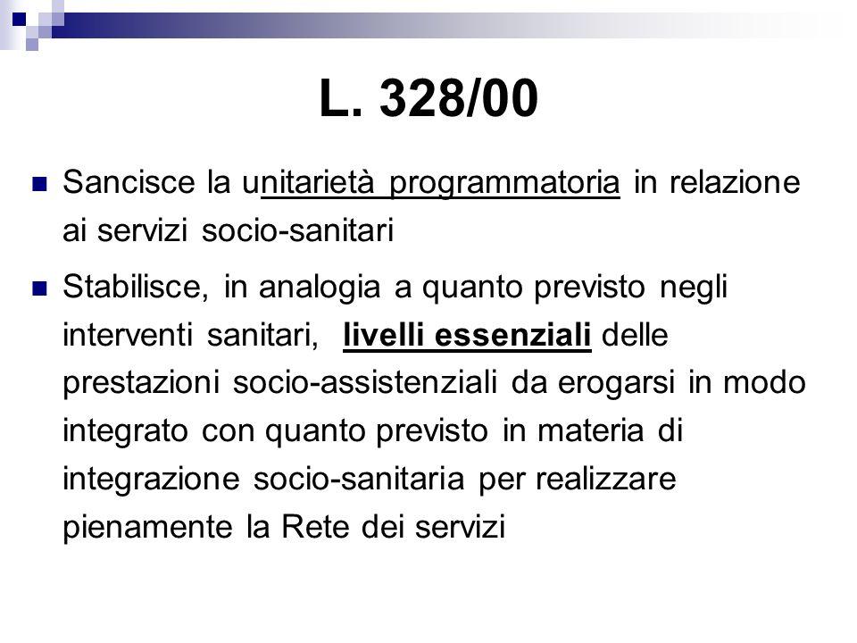 L. 328/00 Sancisce la unitarietà programmatoria in relazione ai servizi socio-sanitari.