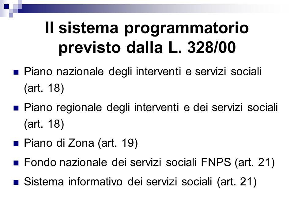 Il sistema programmatorio previsto dalla L. 328/00