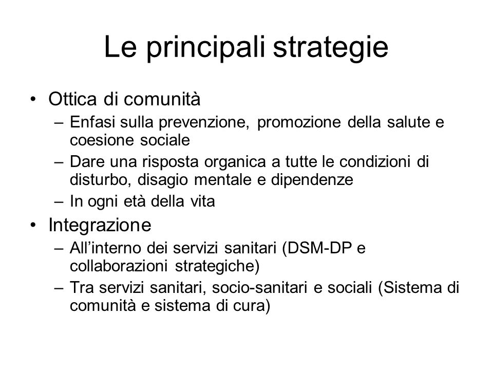 Le principali strategie