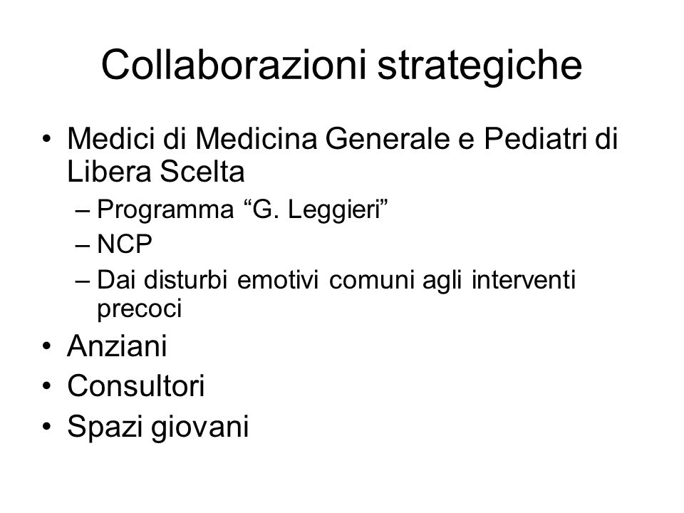 Collaborazioni strategiche