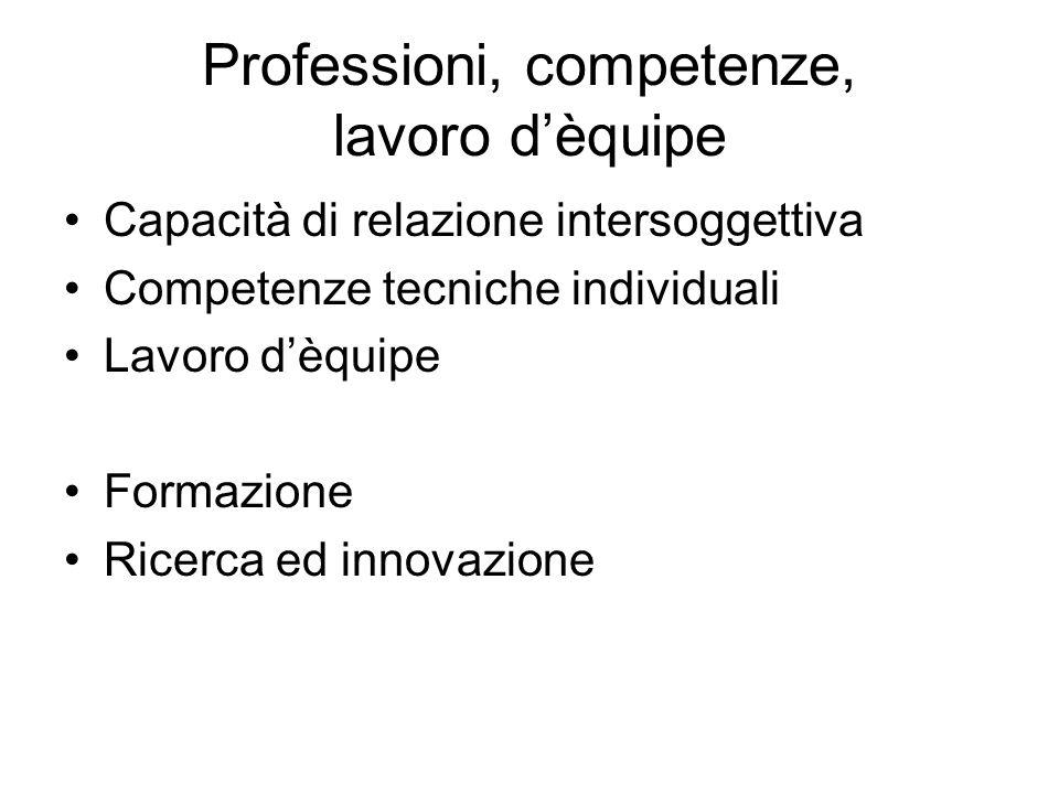 Professioni, competenze, lavoro d'èquipe