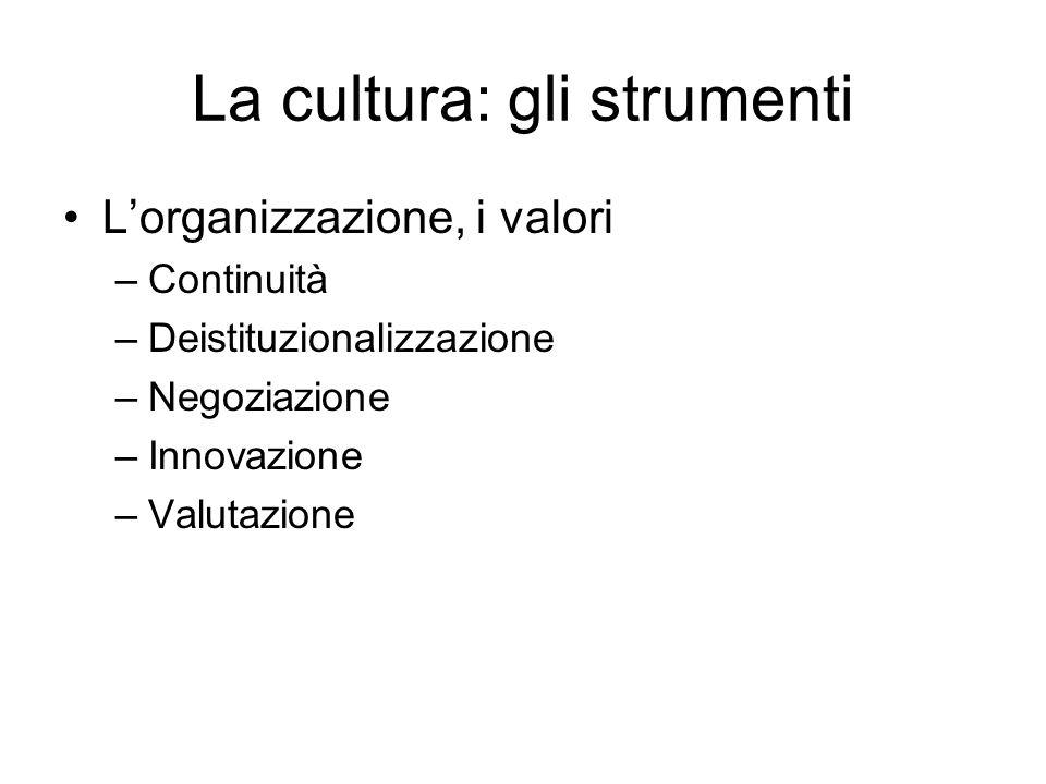 La cultura: gli strumenti