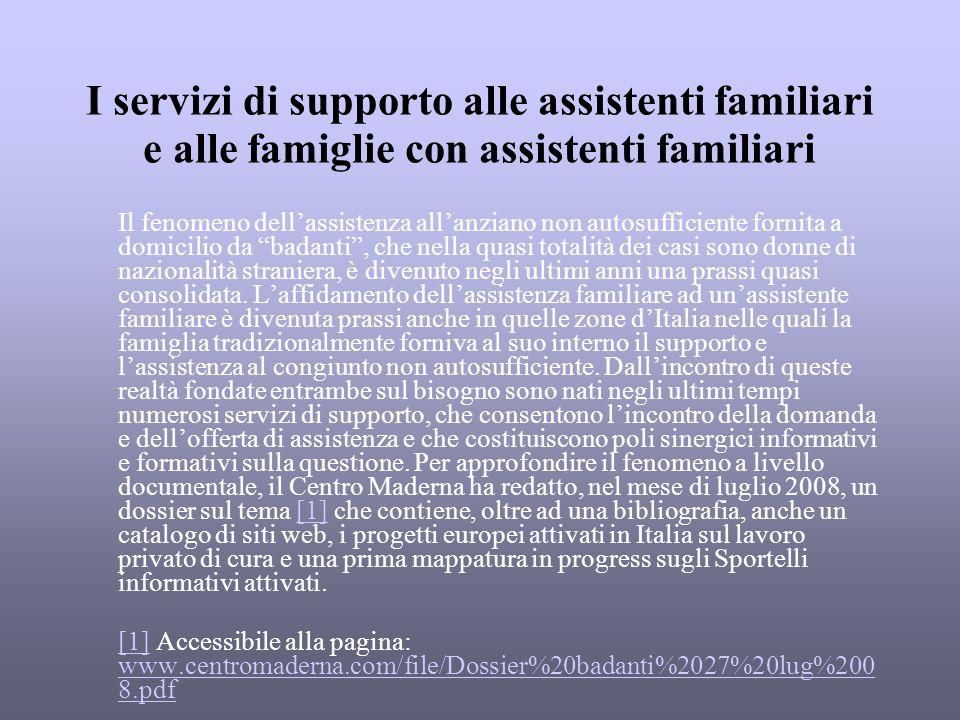 I servizi di supporto alle assistenti familiari e alle famiglie con assistenti familiari