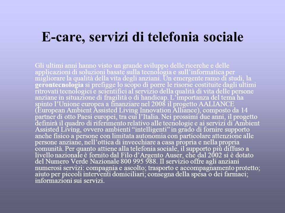 E-care, servizi di telefonia sociale