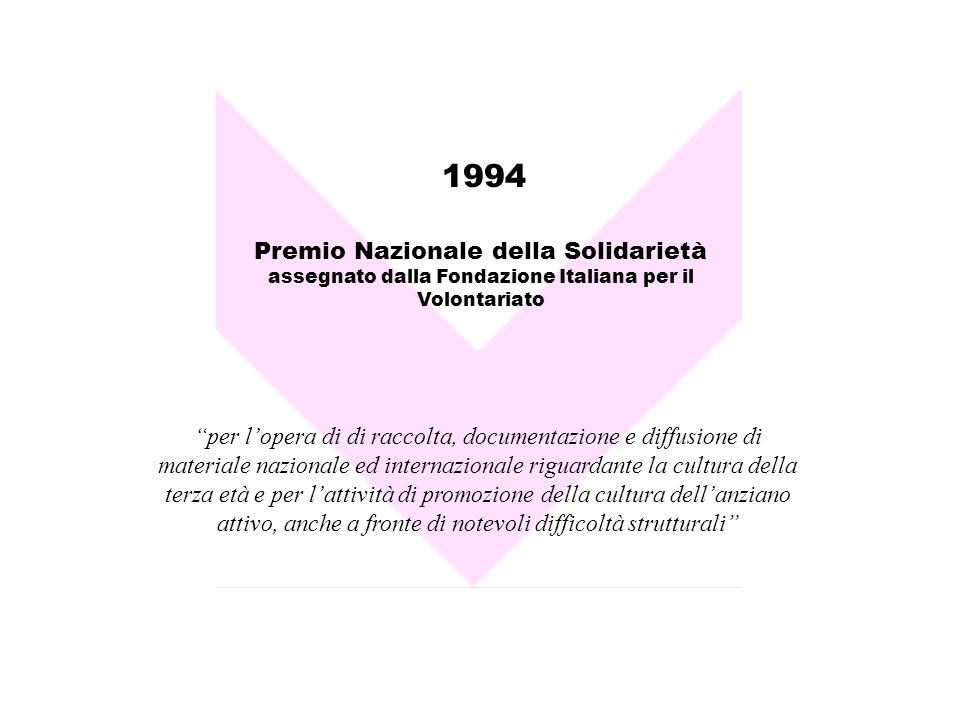 1994 Premio Nazionale della Solidarietà