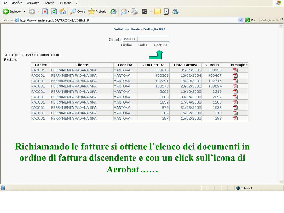 Richiamando le fatture si ottiene l'elenco dei documenti in ordine di fattura discendente e con un click sull'icona di Acrobat……