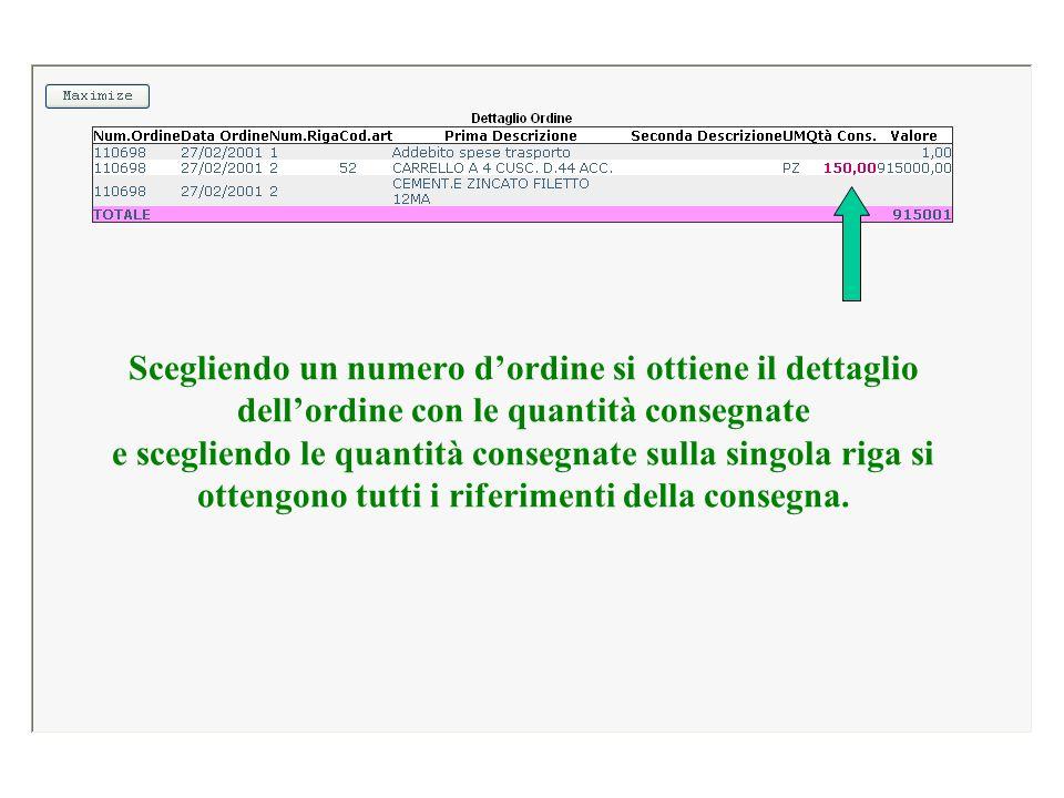 Scegliendo un numero d'ordine si ottiene il dettaglio dell'ordine con le quantità consegnate e scegliendo le quantità consegnate sulla singola riga si ottengono tutti i riferimenti della consegna.