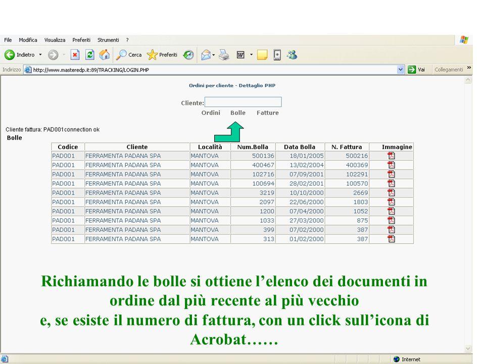 Richiamando le bolle si ottiene l'elenco dei documenti in ordine dal più recente al più vecchio e, se esiste il numero di fattura, con un click sull'icona di Acrobat……