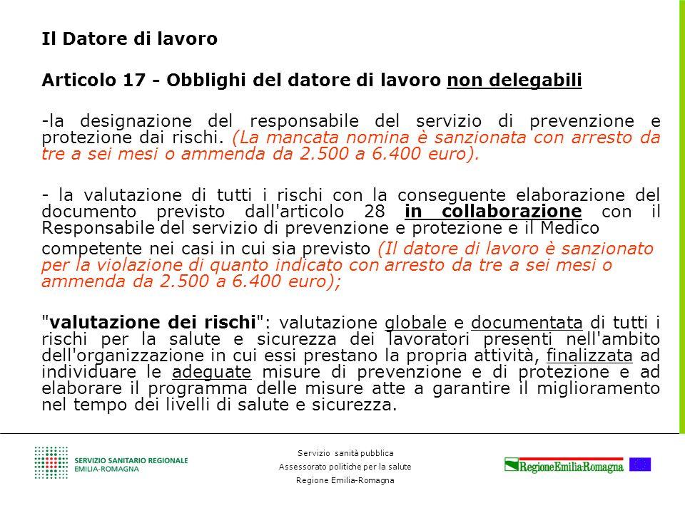 Il Datore di lavoro Articolo 17 - Obblighi del datore di lavoro non delegabili.