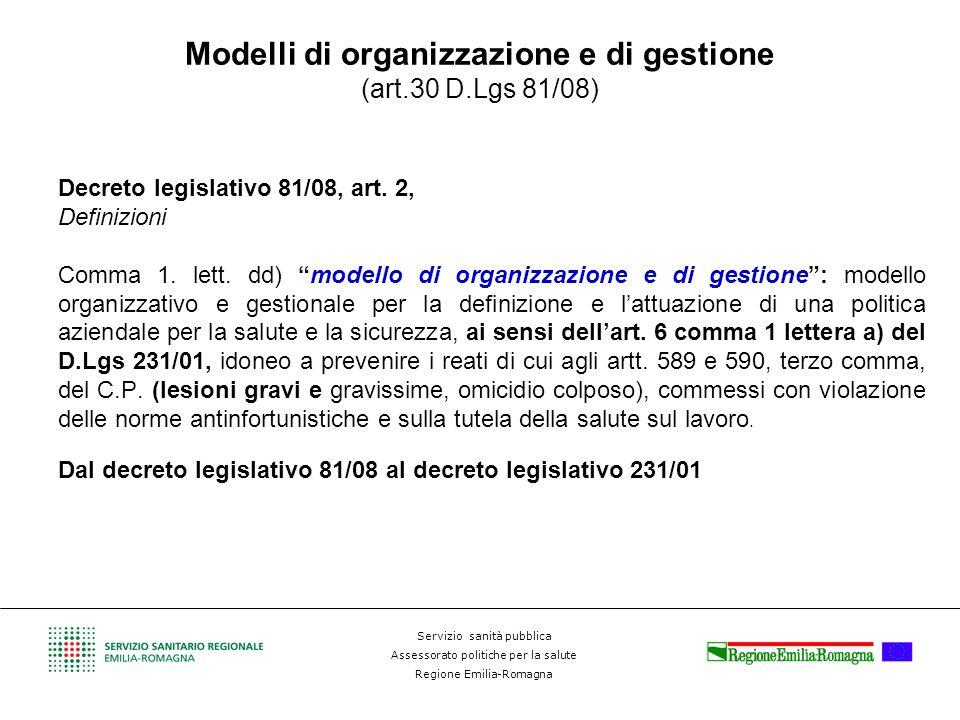 Modelli di organizzazione e di gestione (art.30 D.Lgs 81/08)